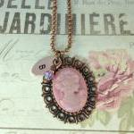 Hand stamped pink cameo initial nec..