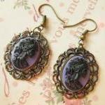 Purple earrings, Skeleton Goddess Cameo, gothic