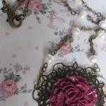Deep pink long flower necklace and ..